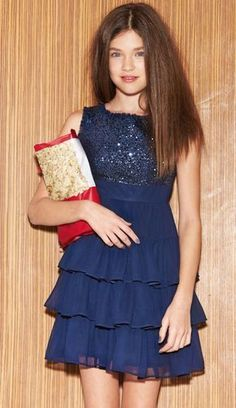 Homecoming Dresses Navy Blue Short Sleeveless Skirt Three Layer Sequins Sequined - It's a Girl Tween Fashion, Young Fashion, Little Girl Fashion, Little Girl Dresses, Dresses For Teens, Cute Dresses, Girls Dresses, Party Kleidung, Kids Frocks
