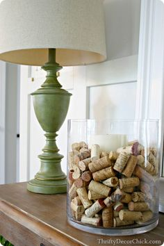Decorating with #corks, a candle and a vase from #HomeGoods!