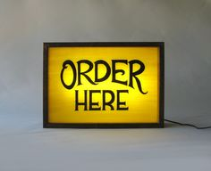 """Hand Painted """"Order Here"""" Sign in Yellow background / Vintage Wooden Light Box / Illuminated Sign / Industrial Rustic / Home Cafe Decor by Bingkai on Etsy"""