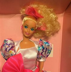 1990 Barbie Style Collector Doll Special Limited Edition Pink Neon Bow NIB #Mattel #Dolls