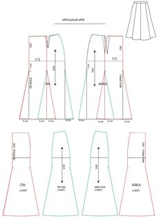 8 parçalı etek Techniques Couture, Sewing Techniques, Skirt Patterns Sewing, Clothing Patterns, Pattern Cutting, Pattern Making, Dress Tutorials, Sewing Tutorials, Circle Skirt Pattern