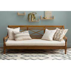 chairs - Roush Teak Patio Daybed with Cushions Wooden Daybed, Wooden Couch, Wicker Sofa, Patio Daybed, Sofa Daybed, Outdoor Daybed, Indian Home Interior, Indian Home Decor, Wooden Sofa Designs