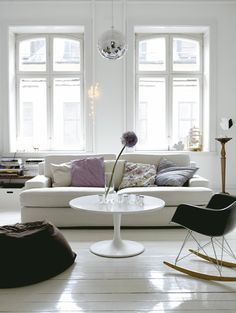 Disco ball, eames rocking chair and some throw overs Living Room White, Beautiful Living Rooms, White Rooms, Home Living Room, Living Spaces, White Walls, White Couches, Beautiful Interiors, Living Area