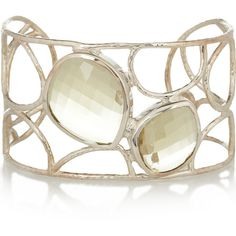 Monica Vinader Nugget sterling silver quartz cuff ($295) ❤ liked on Polyvore featuring jewelry, bracelets, accessories, sage green, quartz jewelry, green jewellery, sterling silver cuff bangle, monica vinader and sage green jewelry