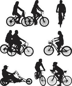 Personas montar Bicicletas fijas Bicycle Illustration, People Illustration, Bike Silhouette, Silhouette Vector, Architecture People, Architecture Graphics, People In Space, Cartoon Caracters, Tree Photoshop