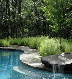 pool . natural elements . stone fountain . curving stone lined edge lined with ferns