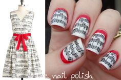 Music lines with red ruffian, inspired by ModCloth dresses