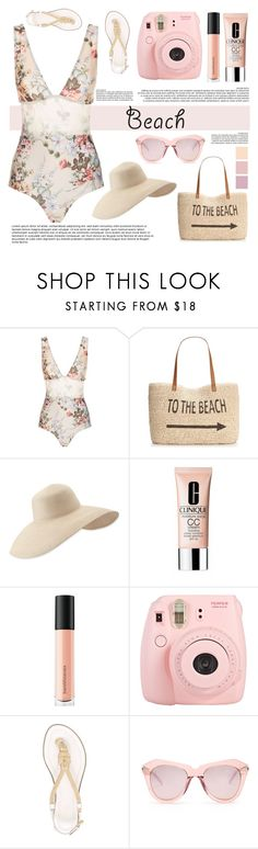 """""""Beach Day"""" by mkelly1 ❤ liked on Polyvore featuring Zimmermann, Style & Co., Eric Javits, Clinique, Bare Escentuals, Fuji, MICHAEL Michael Kors and Karen Walker"""