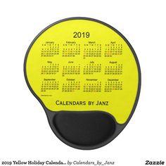 2019 Yellow Holiday Calendar by Janz Gel Mousepad