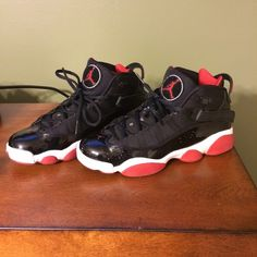 Mens Air Jordan Winterized 6 Rings Leather Black Red shoes