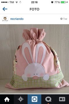Easter bunny gift bag with drawstring