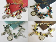 HP House Charm Bracelets for-the-love-of-harry-potter Harry Potter Mode, Harry Potter Merchandise, Harry Potter Style, Harry Potter Fandom, Harry Potter Schmuck, Harry Potter Jewelry, Harry Potter Charm Bracelet, Hery Potter, Harry Potter Accesorios