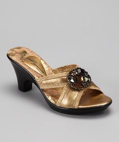 Take a look at this Gold Mink Sandal by Dezario on #zulily today!