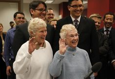 The First And Cutest Same-Sex Couple To Get Married InSeattle.  Washington's new marriage law took effect at 12:01 Thursday morning.