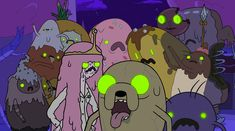 Finn-Jake-Princess-Bubblegum-Lady-Rainicorn-Cinnamon-Bun-Chocoberry-and-a-Banana-Guard-never-looked-better.jpg (4302×2400)