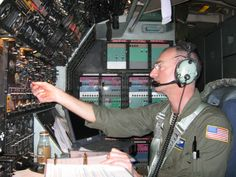 At the flight engineer's panel of a C-5 Galaxy.