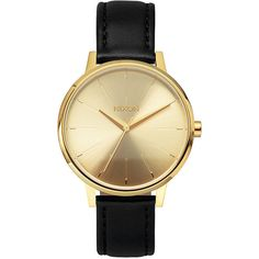 Nixon Kensington Leather Watch ($150) ❤ liked on Polyvore featuring jewelry, watches, accessories, gold, leather watches, womens watches, nixon jewelry, analog watches, water resistant watches and engraved jewelry