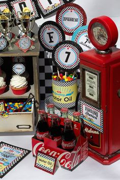 "Adorable car racing party theme - not specifically NASCAR but adaptable enough with the array of ideas. After all, ""motor oil"" is motor oil!"