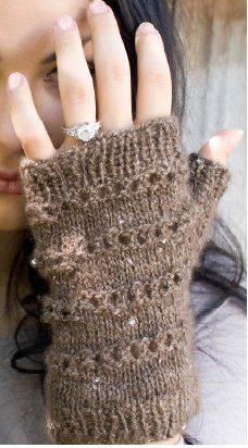 Icy conditions call for matching mittens so warm up those hands with these Iced Handwarmers. These fingerless knit mittens are made with pre-beaded yarn, giving the mittens a bedazzled look.