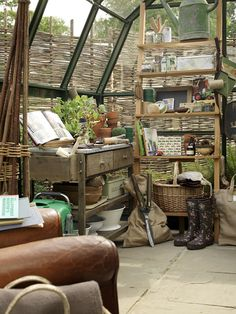 A  potting table, and a comfy chair - to read all those wonderful gardening catalogs.........
