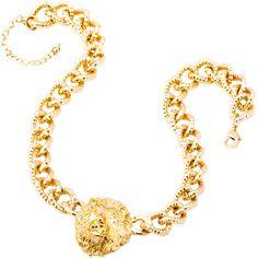 Gargantilla dorada con motivo de cabeza de león de la marca BELLE QUEEN. www.cristianlay.com