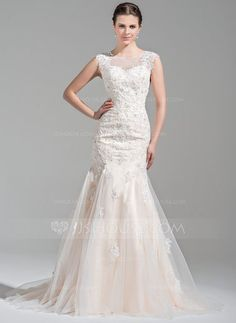 Trumpet/Mermaid Scoop Neck Court Train Tulle Wedding Dress With Beading Appliques Lace Sequins (002071526) - JJsHouse