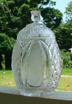 "EAPG Tarentum Glass Co. HARVARD YARD Biscuit Jar w/ Lid, circa 1896, 9""H"