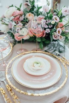 Blush pink dishes. Gold rimmed plates. Tablescape