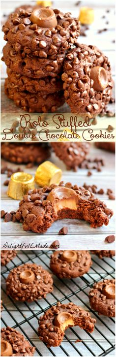 Rolled in mini chocolate chips and stuffed with a Rolo candy, these fudgy delicious cookies will satisfy any chocolate-lover's sweet tooth! #chocolate #Rolo #cookie