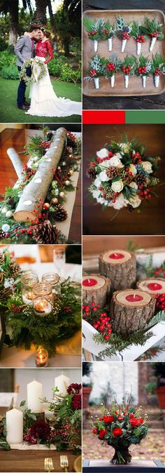 Red and greenery rustic christmas wedding ideas