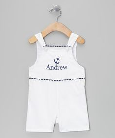White & Navy Anchor Personalized Shortalls - Infant & Toddler by Princess Linens #zulily #zulilyfinds