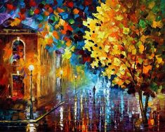 The recreation is 100% hand painted by Leonid Afremov using oil paint, canvas and palette knife. Description from afremov.storenvy.com. I searched for this on bing.com/images