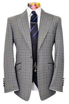 The Morgan Grey with Faint Blue Check Combination Suit