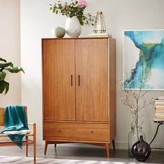 Mid-Century Wardrobe - Acorn | west elm  For linens and bathroom storage