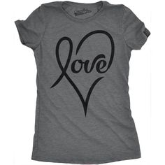 Womens Love Cursive Heart Design Cute Valentines Day Girly T shirt (S), Grey (cotton, printed)