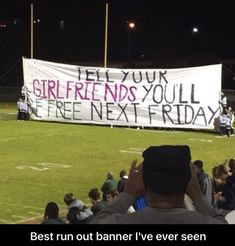 Local highschool with the best run out banner I've ever seen. Laugh your self out with various memes that we collected around the internet. High School Football Playoffs, Football Run, Football Banner, Football Signs, Football Posters, Football Spirit, Football Season, Wrestling Posters, Cheer Spirit
