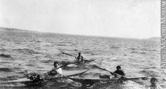 Inuit in kayaks, Port Harrison (Inukjuak), Hudson Bay, 1910