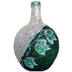 Botella decorada con texturas de vidrio. Bottle Art, Bottle Crafts, Christmas Bulbs, Photos, Holiday Decor, Pasta Das, Home Decor, Google, Wine Bottles