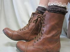 Love these lace leg warmers + steve madden combat boots...I finally bought them in black!!