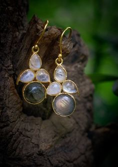 Yellow Gold Fill Mini Gemstone Threader Earrings  Chocolate Moonstone  Labradorite  Pearl  Wedding  Bridesmaids  Dainty