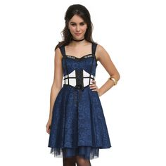 Doctor Who TARDIS Dress Hot Topic ($64) ❤ liked on Polyvore featuring costumes, dresses, blue costume and blue halloween costume