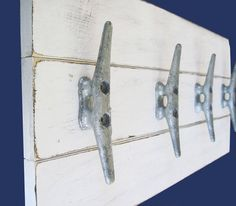 "Boat Cleat Coat Rack 22""x10"" Distressed White Nautical"