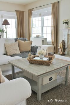 Family Room Reveal-Thrifty, Pretty & Functional. Love the khaki and gray.