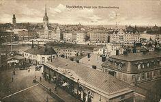 Stockholms digitala stadsmuseum — Vy över Slussen och Gamla Stan med Södermalmstorg i förgrunden. 1909-16.