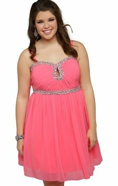 Deb Shops Plus Size Short #Prom #Dress with Stone Accents and Keyhole Cutout $60.00
