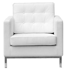 Florence Knoll Style Arm Chair (White Leather)