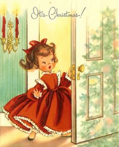 """Vintage Christmas Greeting Card ~ Little girl in pretty red dress. """"It's Christmas""""!"""