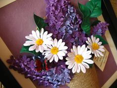 Quilled lilac and daisies in a vase (the frame is aprox. 22x27.5 cm)