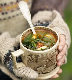 Kale, chorizo and butterbean soup