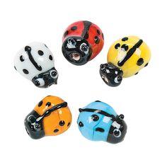 Bright Ladybug Lampwork Glass Beads - 8mm x 11mm - OrientalTrading.com